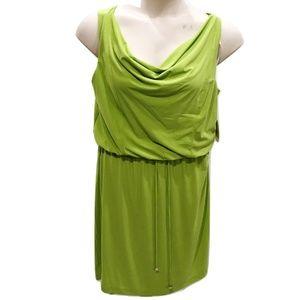Emma Michelle Size L Green Dress Blouson Stretch